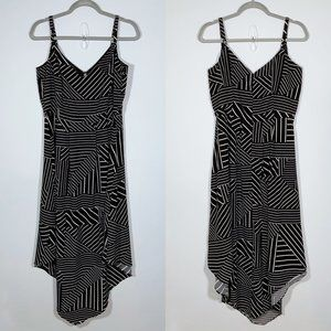 City Chic Black & White Striped Hanky Hem Dress 14